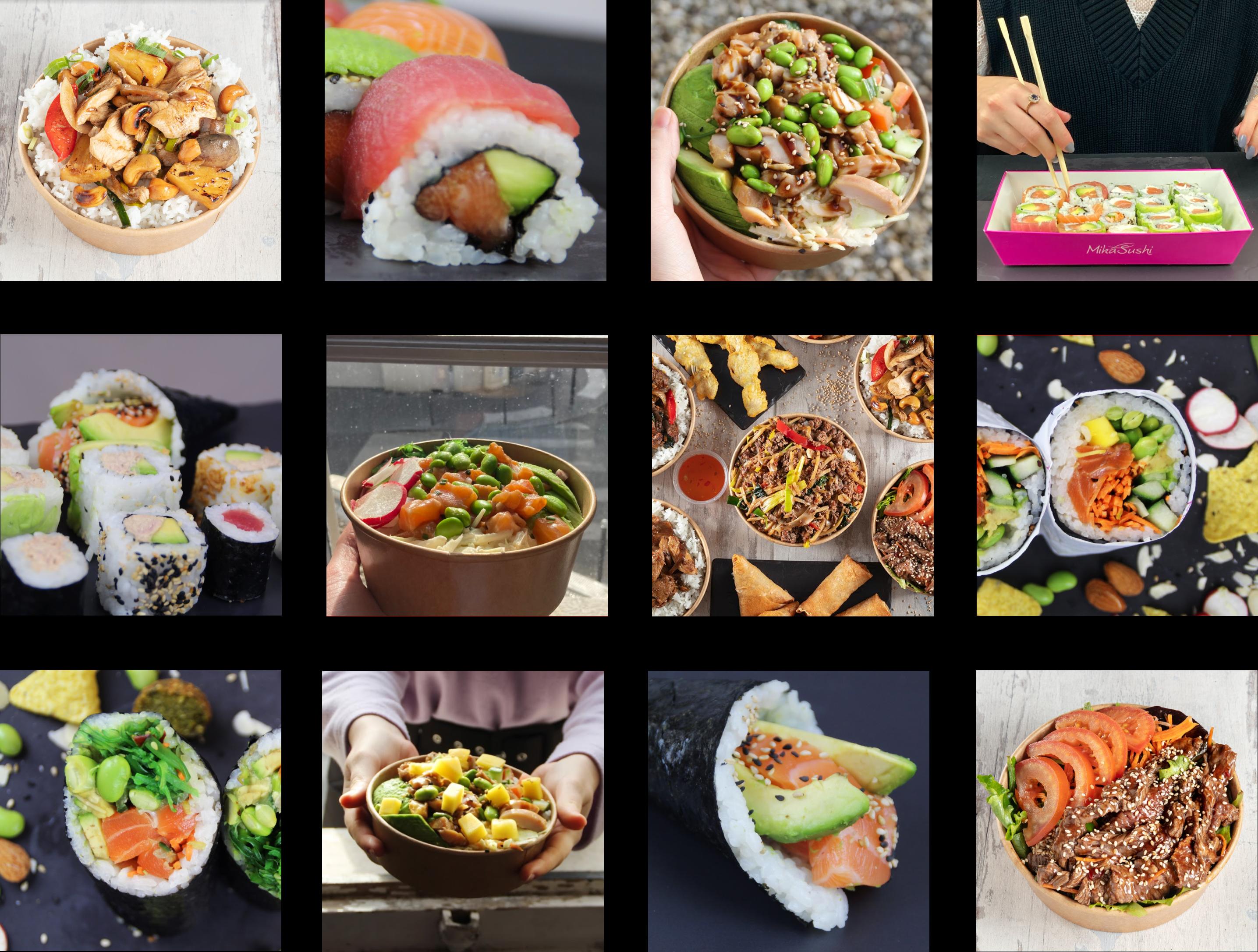 12 images carré poke bowl mika sushi sushi maki buddha bowl burrito sushi maki